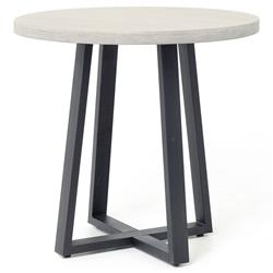 Maceo Modern Grey Stone Black Iron Round Outdoor Bistro Dining Table - Small