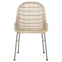 Elena Coastal Beach Beige Woven Wicker Grey Iron Low Arm Outdoor Dining Chair