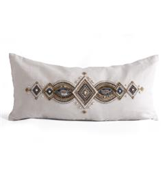 Hull Natural Hand Embroidered Beaded Pillow - 12x26