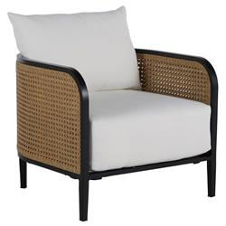Summer Classics Havana Modern White Performance Cane Outdoor Lounge Chair