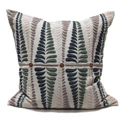 Sanford Fern Peacock Blue Natural Square Hand Embroidered Pillow | BLISS-PL-4081