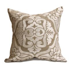 Verdun Natural Ivory Square Hand Embroidered Pillow | Kathy Kuo Home