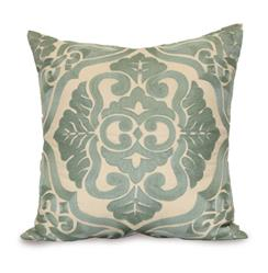 Verdun Blue Ivory Hand Embroidered Pillow - 24x24