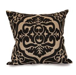Verdun Black Dark Natural Hand Embroidered Pillow - 24x24