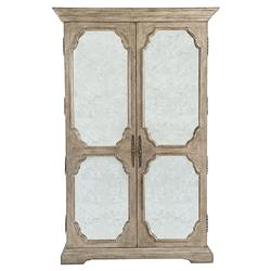 Cora French Weathered Brown Oak Wood Antiqued Glass Panel Armoire