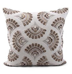 Lecanto Copper Natural Hand Embroidered Pillow - 22x22