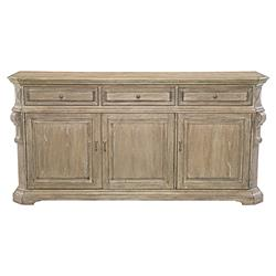 Cora French Country Weathered Brown Oak Wood Buffet Table