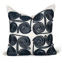 Stow Coastal Beach Navy Swirl Pillow - 24x24