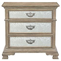 Cora French Country Weathered Brown Oak Wood Mirror Drawer Nightstand