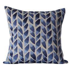 Freeport Indigo Natural Leaf Hand Embroidered Square Pillow | BLISS-PL-2325