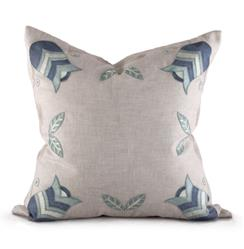 Lowell Coastal Beach Natural Blue Square Pillow | BLISS-PL-4268