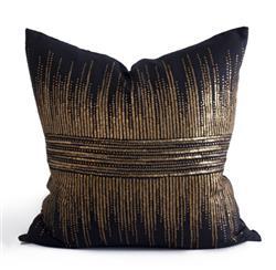 Hampton Coastal Beach Gold Black Striated Pillow - 24x24