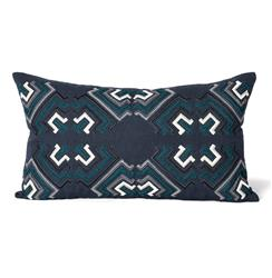 Hampden Indigo Teal Graphic Pillow - 14x24