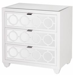 Malta Global Bazaar White Lacquer Mirror Nightstand Bachelor Chest