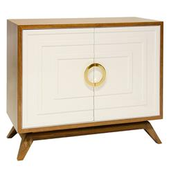 Harrison Hollywood Regency White Brown Wood Brass Media Cabinet