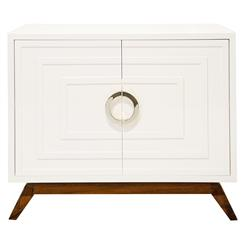 Harrison Hollywood Regency White Lacquer Nickel Media Cabinet