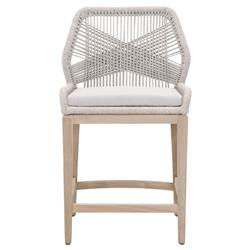 Lorry Coastal Beach Taupe Woven Rope Performance Teak Outdoor Counter Stool