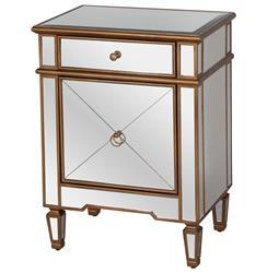 Sloane Hollywood Regency Gold Mirror Nightstand