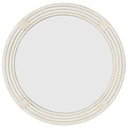 Maya Coastal Beach White Wood Round Wall Mounted Mirror