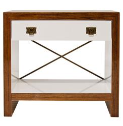 Blanche Hollywood Regency White Brown Wood Brass Nightstand