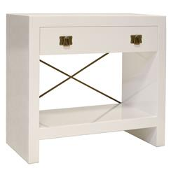 Blanche Hollywood Regency White Lacquer Brass Nightstand