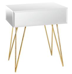 Biscayne Hollywood Regency Mirror Glass Nightstand Side Table