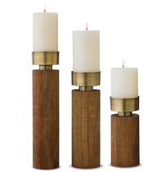 Ambika Global Bazaar Mango Wood Candlesticks - Set of 3