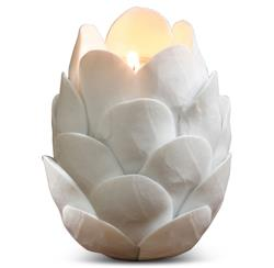 Thistle White Artichoke Porcelain Tea Light Sculpture - Set of 3