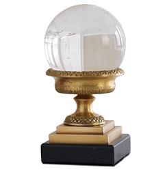 Petite Hollywood Regency Brass Urn with Crystal Sphere Sculpture