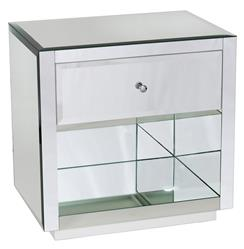 Sheen Hollywood Regency Modern Mirror Glass Nightstand