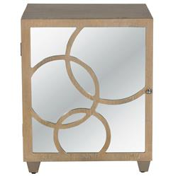 Juliette Hollywood Regency Limed Oak Mirror Left Door Nightstand