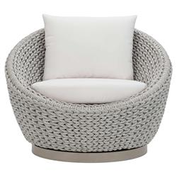 Bianca Coastal Grey Woven Rope White Sunbrella Cushion Outdoor Swivel Chair