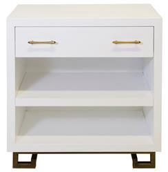 Rooney Hollywood Regency White Lacquer Nightstand