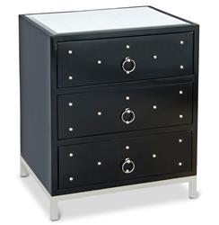 Harley Hollywood Regency Studded Black Lacquer Nightstand