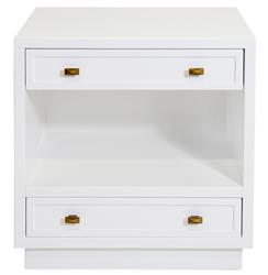 Bloom Hollywood Regency White Lacquer Nightstand