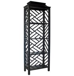 Akira Global Bazaar Burnished Black Four Shelf Bookcase