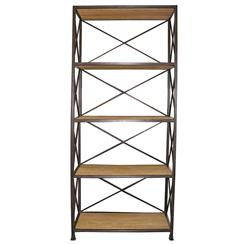 Noir Elm Metal Wood Industrial Rustic Open Bookcase