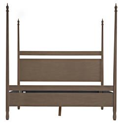 Noir Venice French Country Brown Mahogany Wood Four Poster Bed - King