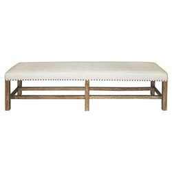 Noir Sweden Rustic Lodge White Cotton Brown Mindi Wood Nailhead Bench
