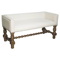 Bennington Grey Wash French Country Bench