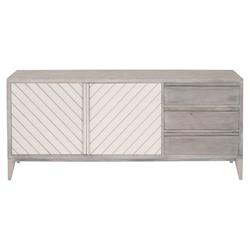 Recille French Country Grey Wood Frame White Concrete Door Media Sideboard