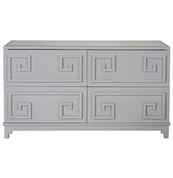 Lucio Hollywood Regency Greek Grey Lacquer Mirror Dresser