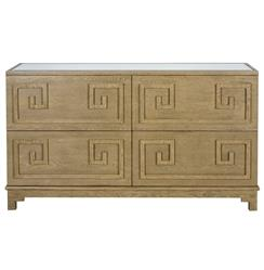 Lucio Hollywood Regency Greek Limed Oak Mirror Dresser