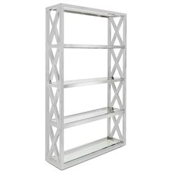 Montgomery Hollywood Regency Silver Steel Glass Etagere