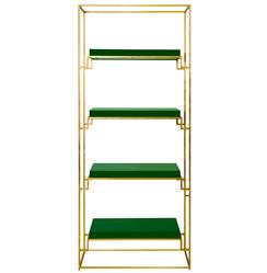 Brenner Hollywood Regency Gold Green Lacquer Etagere