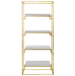 Brenner Hollywood Regency Gold White Lacquer Etagere