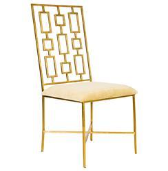Tetris Hollywood Regency Gold Beige Velvet Dining Side Chair