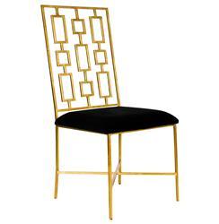 Tetris Hollywood Regency Gold Black Velvet Dining Side Chair