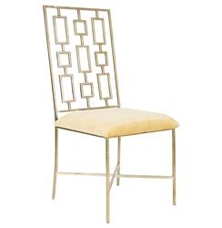 Tetris Hollywood Regency Silver Beige Velvet Dining Side Chair