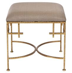 Limelight Hollywood Regency Light Brown Linen Gold Stool Ottoman